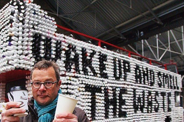 Hugh Fearnley-Whittingstall, the celebrrity chef, showed how traditional coffee cups are difficult to recycle
